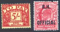 Postage Due and Official stamps